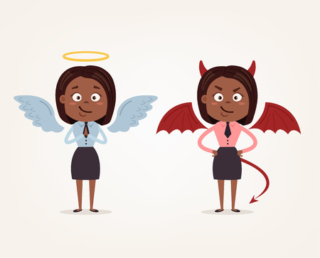 Angel and devil African American business woman office workers characters. Good and bad. Vector flat cartoon illustration Illustration