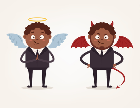Angel and devil African American businessman office workers characters. Good and bad. Vector flat cartoon illustration