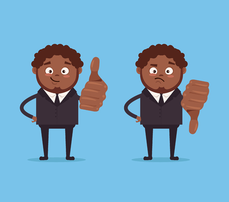 Happy smiling and angry sad businessmen African American office worker characters show and dislikes hand gesture sign. Vector flat cartoon illustration