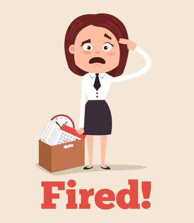 Trauriger unglücklicher Büroangestellter-Frauencharakter, der vom Job gefeuert wird und Büro mit Kasten verlässt. Vector flache Karikaturillustration