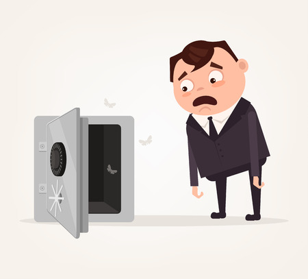Sad shocked. No money. Vector flat cartoon illustration Illustration