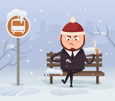 Angry casual businessman looking at the office. Cold snowy weather in winter. Vector flat cartoon illustration