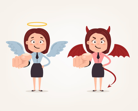 Happy good angle and bad angry devil business woman characters pointing on you with finger. Vector flat cartoon illustration