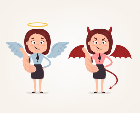 Happy good angle and bad angry devil business woman characters stretching greeting hand. Vector flat cartoon illustration