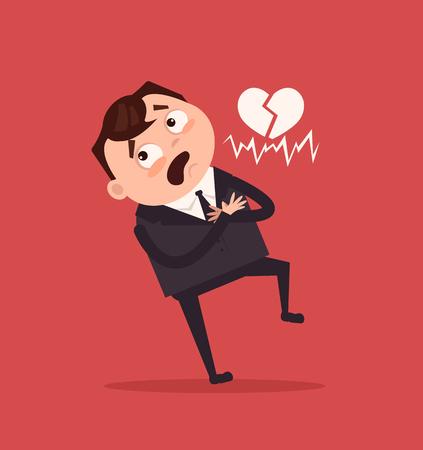 Sad unhappy office worker. Vector flat cartoon illustration