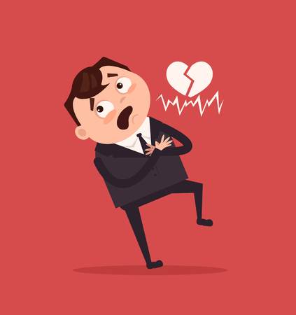 Sad unhappy office worker. Vector flat cartoon illustration