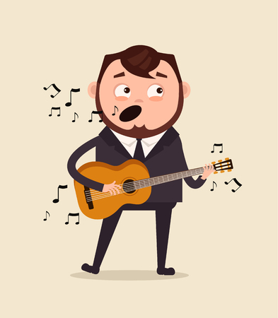 Happy smiling office worker person singing. Vector flat cartoon illustration