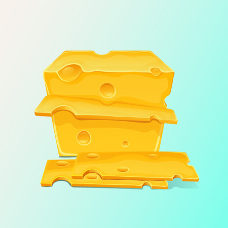 Large piece of yellow cheese icon and cut pieces. Vector flat cartoon illustration Illustration