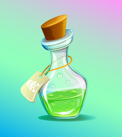 Flask of green poison icon. Vector flat cartoon illustration Illustration