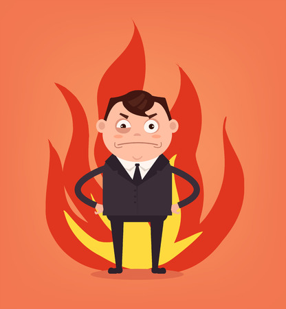 Angry man office worker. Vector flat cartoon illustration