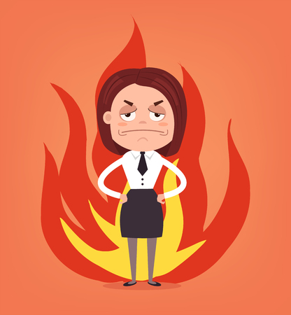 Angry woman office worker. Vector flat cartoon illustration
