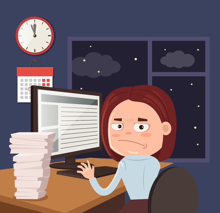 Unhappy woman office worker businessman character work hard and late. Vector flat cartoon illustration