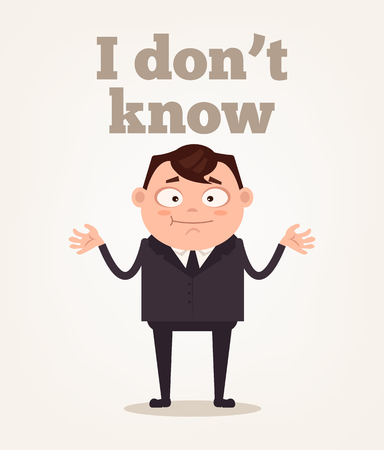 オフィスワーカーの男の文字が理解していません。ベクトルフラット漫画のイラスト知らない