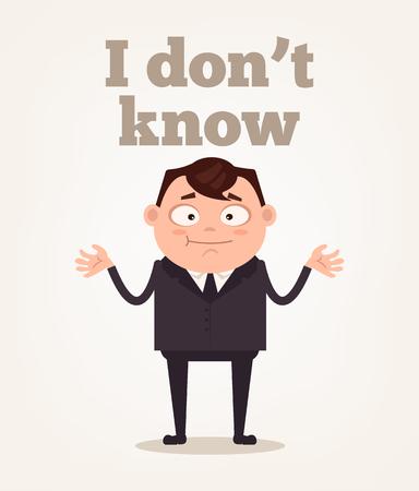 Büroarbeiter Mann Charakter verstehen nicht. Vector flache Karikaturillustration ich weiß nicht Vektorgrafik