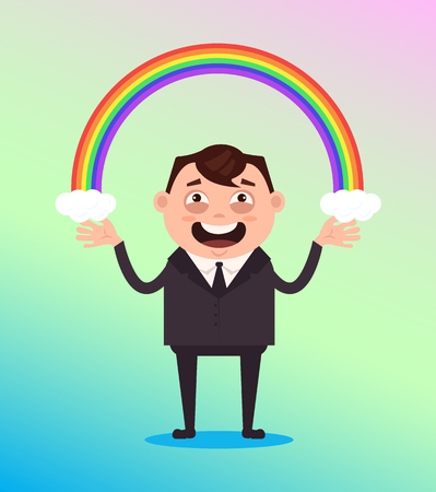 Happy smiling office worker with rainbow. Vector flat cartoon illustration Illustration