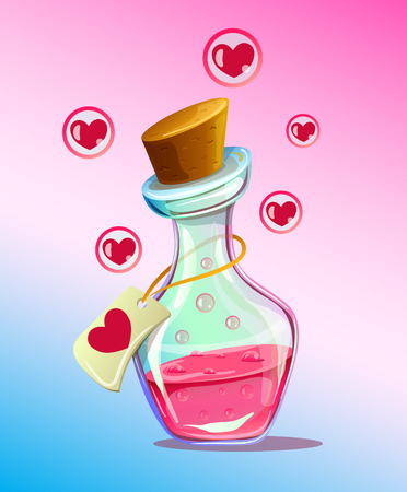 mana: Pink isolated flask of love elixir chemistry. Vector flat cartoon illustration