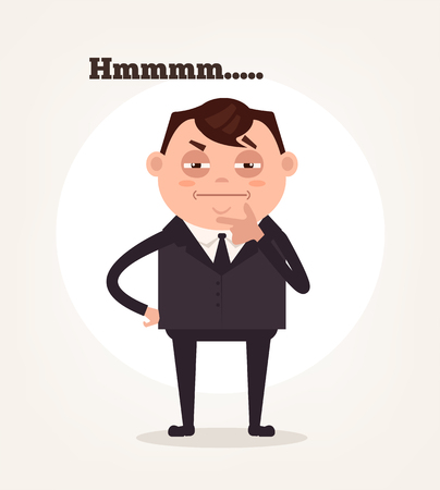 Office worker businessman character suspect and thinking. Vector flat cartoon illustration