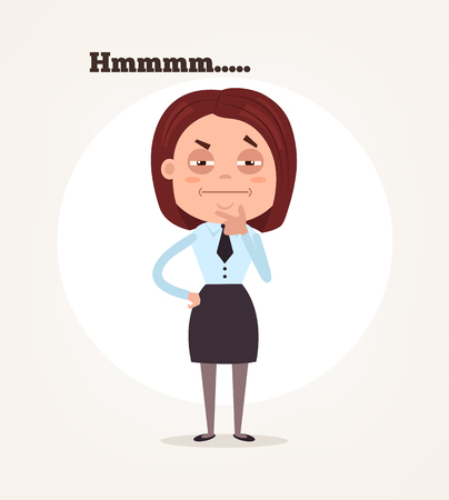 hesitation: Office worker business woman character suspect and thinking. Illustration
