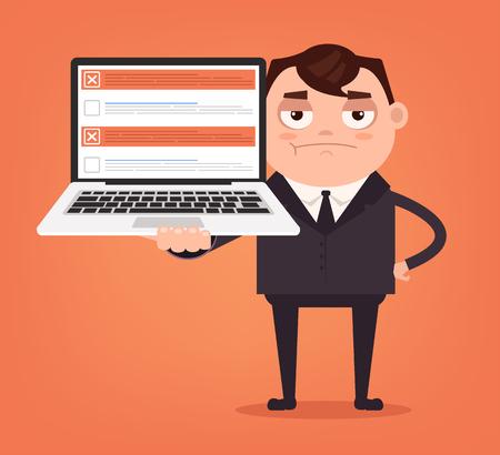 Angry upset businessman. Vector flat cartoon illustration