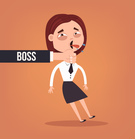 Angry sad boss. Vector flat cartoon illustration