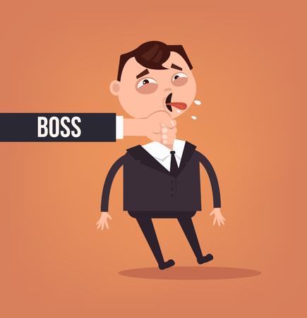 Angry sad boss. Vector flat cartoon illustration