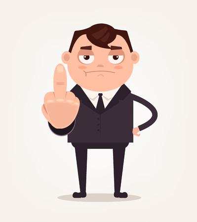 不幸な怒っている上司オフィス ワーカー従業員の人が中指とショーの無礼を示します。ベクトル フラット漫画イラスト 写真素材 - 86618172