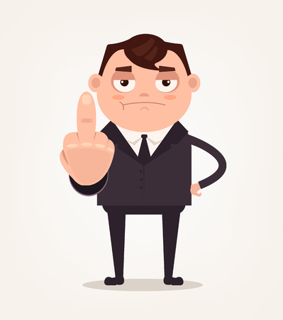 dissatisfied: Unhappy angry boss office worker employee man showing middle finger and show disrespect. Vector flat cartoon illustration Illustration