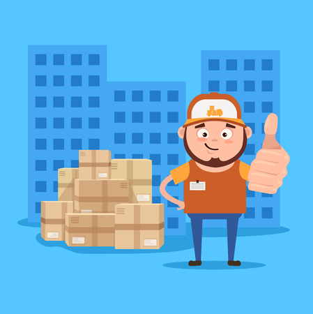 Happy smiling delivery. Supply in time concept. Vector flat cartoon illustration Illustration