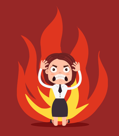 Angry unhappy business woman office worker character. Vector flat cartoon illustration