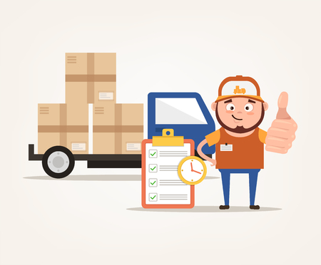 Happy smiling delivery man vector flat cartoon illustration