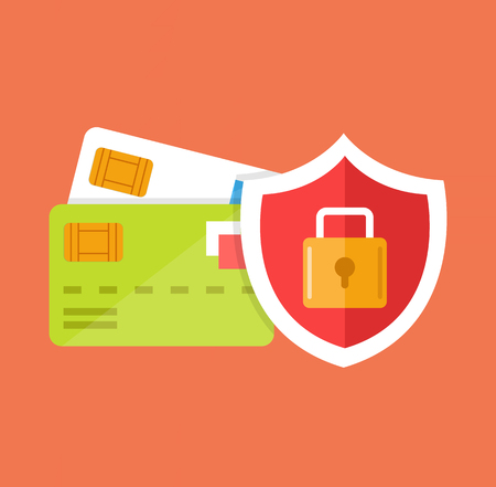 e business: Secure credit card locked. Vector flat cartoon icon illustration Illustration