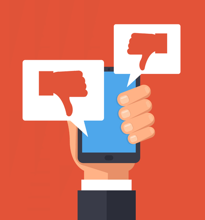 Hand holding smartphone with dislike message. Public opinion concept. Vector flat cartoon illustration