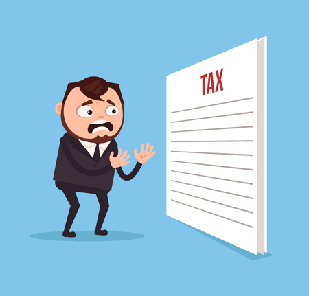 Man in suit, office worker character shocked and sad from tax papers in flat style cartoon illustration.