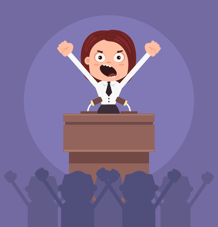 Angry business woman office worker politician character speaking from rostrum.