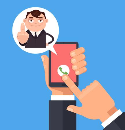 Angry trieste manager mannen kantoormedewerker karakter oproep en middelvinger weer gegeven. Vector platte cartoon afbeelding