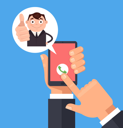 Happy smiling manager men office worker character call and showing ok sign. Vector flat cartoon illustration Illustration