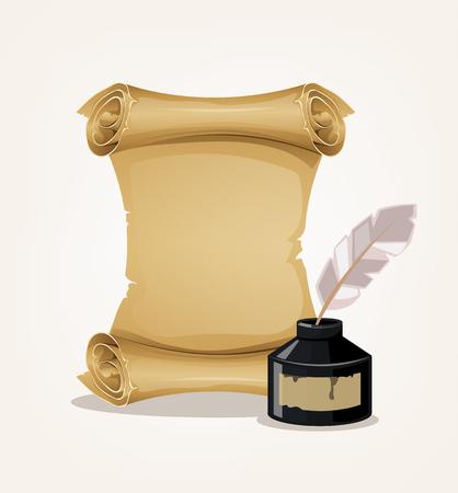 古い古代インク瓶と紙ロール。ベクトル フラット漫画イラスト