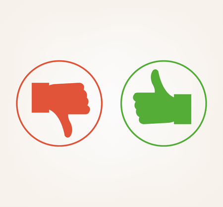 Like dislike thumb up and down isolated icon. Vector flat cartoon illustration