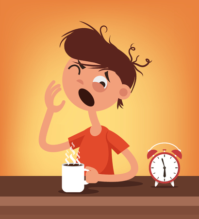 Sleepy man character wake up and drink coffee. Early hard morning concept. Vector flat cartoon illustration