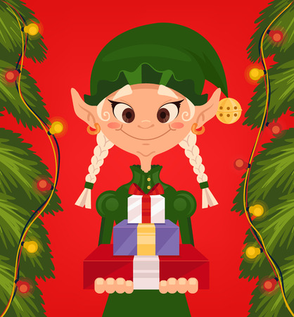 Marry Christmas and Happy New Year. Vector flat cartoon illustration