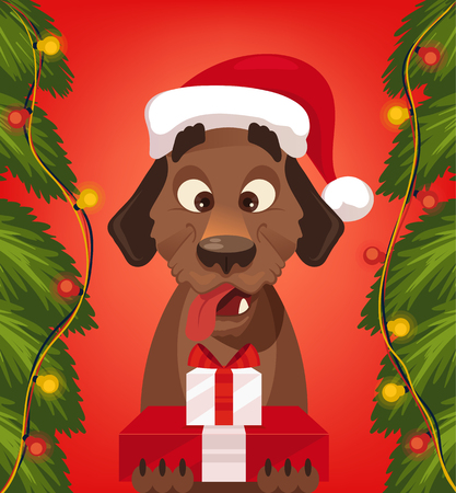 Marry Christmas and Happy New Year dog with Santa Claus hat holding gift boxes. Vector flat cartoon illustration Illustration