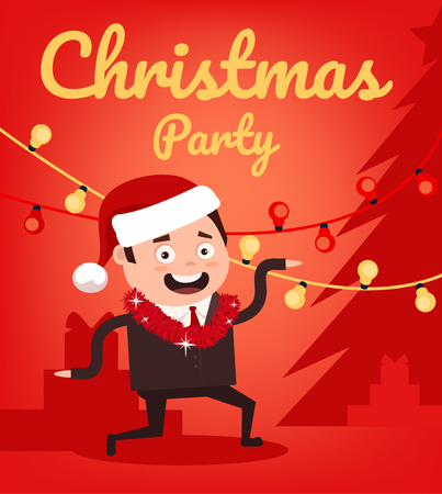 Marry Christmas and Happy New Year happy smiling office worker man character dancing on party. Vector flat cartoon illustration Illustration