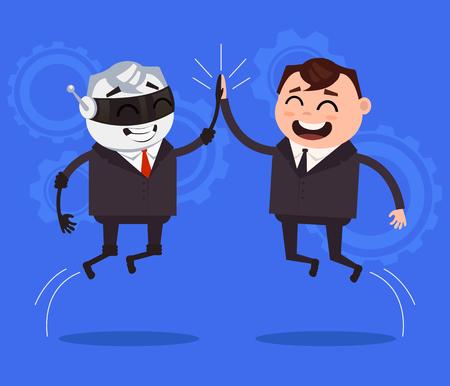 Human and robot characters cooperation. Vector flat cartoon illustration
