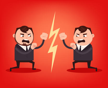 Two angry office workers character quarrel and fight. Teamwork concept. Vector flat cartoon illustration.