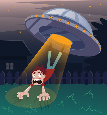 Frightened screaming man character abducted by aliens.Vector flat cartoon illustration