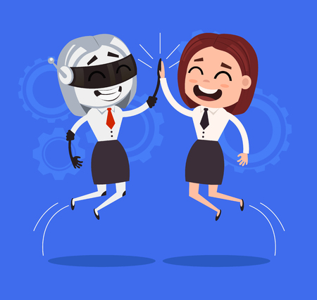 cyber woman: Human and robot characters cooperation. Vector flat cartoon illustration Illustration