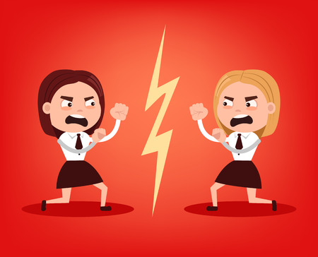 Two angry office workers woman character quarrel and fight. Teamwork concept. Vector flat cartoon illustration 矢量图像