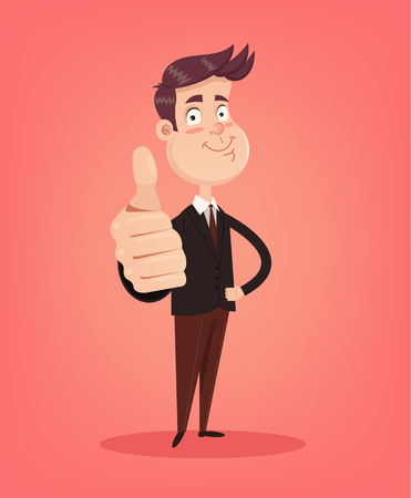 Happy smiling office worker man character showing ok sign. Vector flat illustration