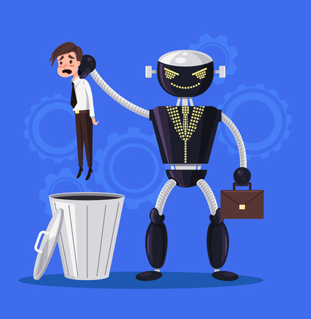 Robot vs. human man character. Automation concept. Vector flat illustration
