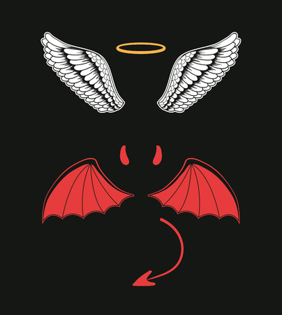 Angel and devil suit elements. Good and bad. Vector flat cartoon illustration
